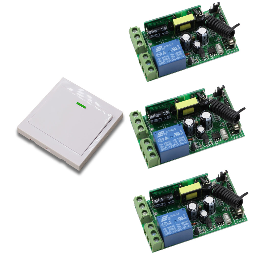 Wide Voltage AC85V 110V 120V 220V 250V 3pcs Receivers Wall Transmitter Wireless Power Switch Radio Controlled Switch Relay
