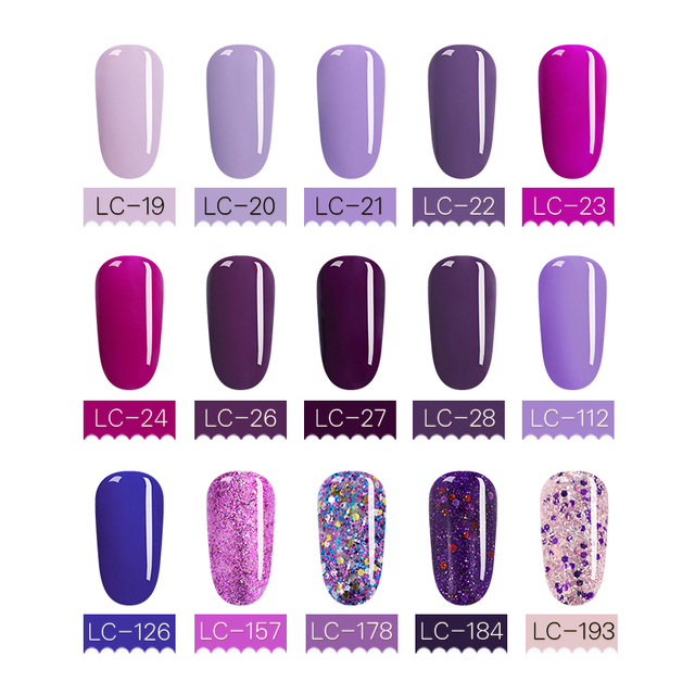 LILYCUTE Purple Series UV Gel LED Pure Nail Color
