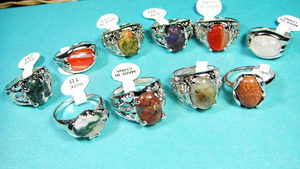 Image 3 - 150Pcs Mixed Color Natural Stone Silver Plated Rings For Women Fashion Big Whole Jewelry Bulks Lots BL020