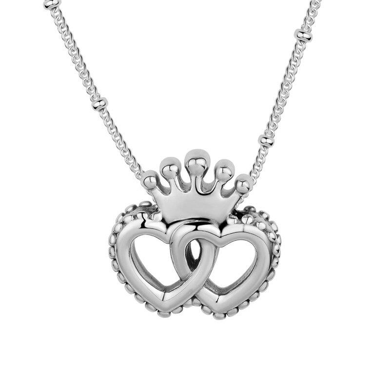 Pandulaso United Regal Hearts Choker Necklaces 2018 Fashion Silver 925 Jewelry Autumn Silver Necklaces & Pendants Crown Heart
