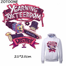 ZOTOONE New Fashion Purple Destroy Skull Patches for Clothing Iron on Transfer Sticker DIY Stripes Custom Patch Applique T-shirt