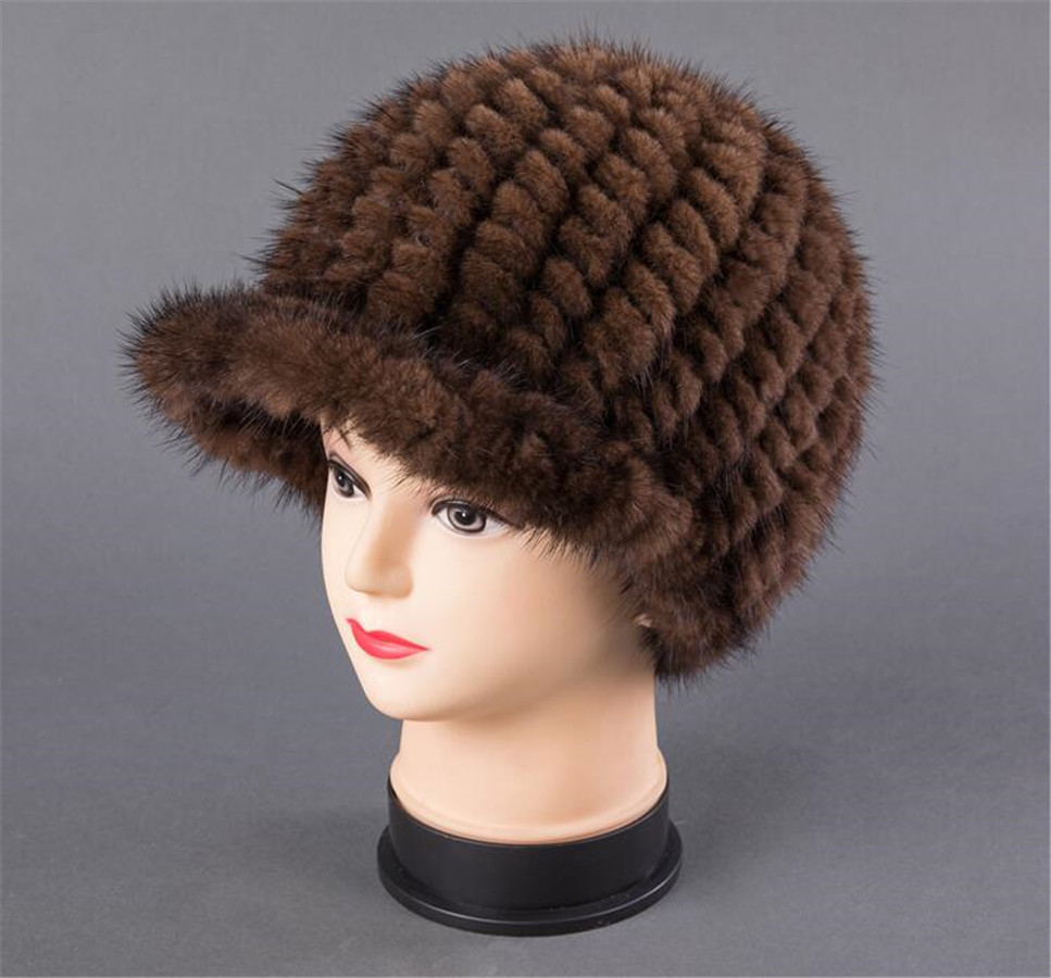 BFDADI New Fshion And Warm Hat For Women Real Natural Mink Fur Cap High quality Cute with ears and tail Hat Snow Warm - 4