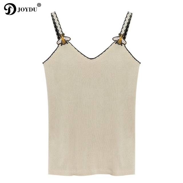 JOYDU 2018 New Korean Womens Tops And Blouses Fashion Knitted Sleeveless Runway Design Bee Embroidery Sexy Shirts camisas mujer