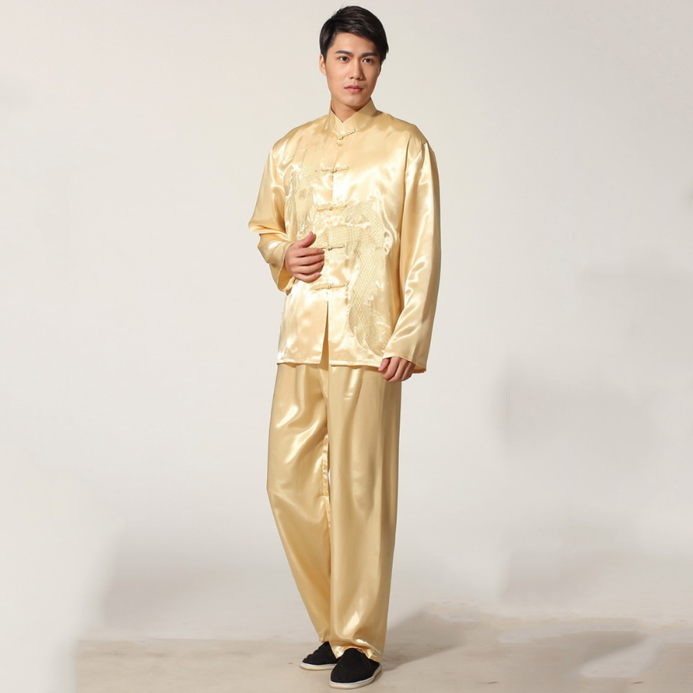 New Gold Embroidery Dragon Chinese Men's Rayon Kung Fu Suit Traditional Tai Chi Sets Wu Shu Uniform S M L XL XXL M051-1