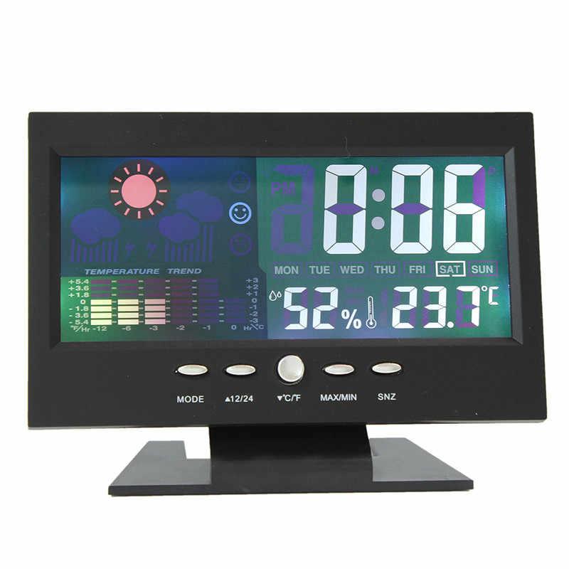 Marca Novo Ecrã LCD a Cores de Carro Relógio Carro Termômetro Relógio Calendário Digital Previsão do tempo Preto