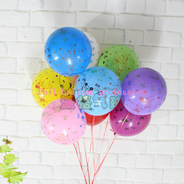 50pcs/lot 2.8g 12inch Happy Birthday Balloons Mickey and Minnie Mouse latex Ball