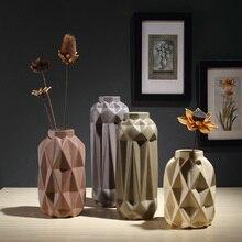 цена на Minimalist ceramic cerative origami flowers vase pot home decor crafts room weeding decorations handicraft porcelain figurines