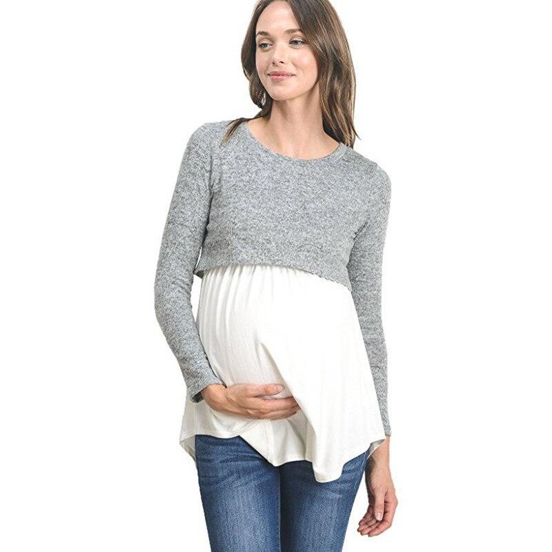0d7f33852 Las mujeres de manga larga a rayas otoño camiseta de enfermería maternidad  lactancia materna Loose ...