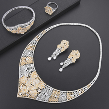 SisCathy Charms Women Statement Flower Necklace/Bangle/Ring/Earrings Jewelry Sets Luxury Full Cubic Zirconia Jewellry For