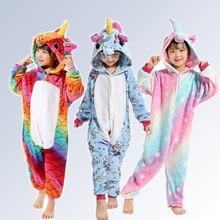 Купить с кэшбэком Boys Girls Unicorn Pajamas  Animal Pegasus  Pijamas Onesies Winter Kids Pajamas Stitch Hooded Children Sleepwear for 4 6 8 10 12