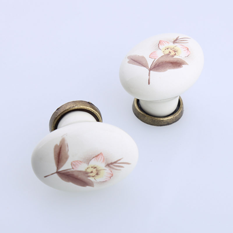 Rustico rural ceramic kitchen cabinet cupboard door handles oval bronze drawer tv table shoe cabinet dresser knobs pulls