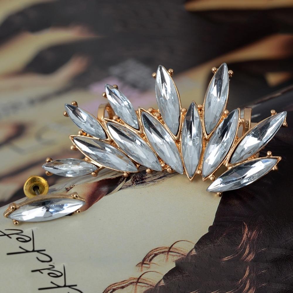 Women Gold Plated Rhinestone Crystal Flower Ear Clip Piercing Cuff Earrings Set