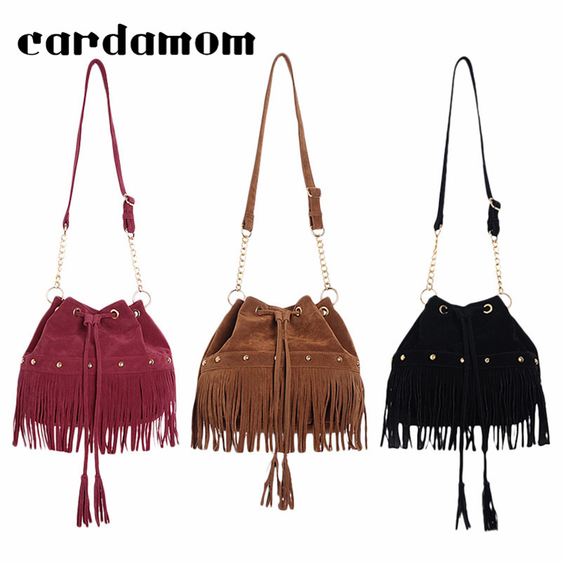 2018 Fashion Vintage Women Bucket Bag With String Suede Rivets Women Handbag Large Tote Bags Tassel Ladies Shoulder Bags Sac fashion women s tote bag with rivets and checked design