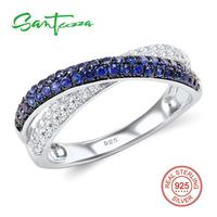 Silver Ring For Women Blue And White Cubic Zirconia CZ Diamond Ring 925 Sterling Silver Party