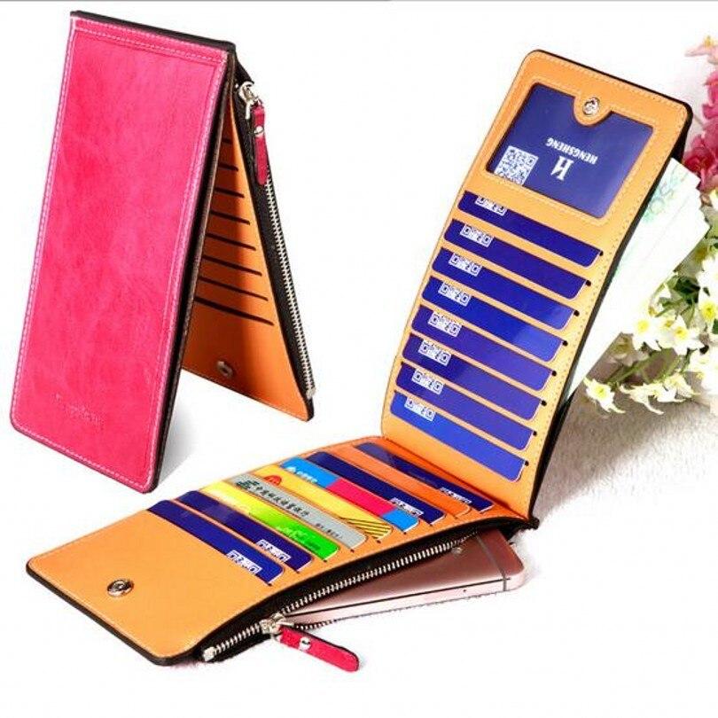 17cards bolsos mujer women leather zipper slim wallets carteiras femininas travel organizer credit card holder passport cover 40
