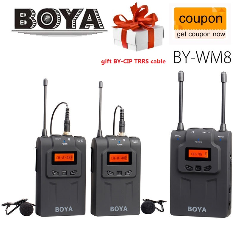 BOYA BY-WM8 UHF Wireless Lavalier Microphone For ENG EFP for Canon Sony DSLR Cameras  boya by wm5 lavalier clip on mic audio studio recorder wireless microphone microfone for canon sony gopro dslr camera camcorder
