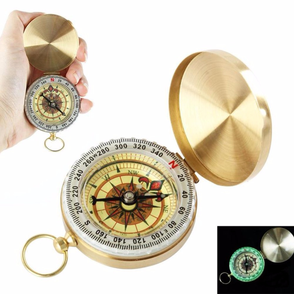 Luminous Camping Compass Copper Glow in the Dark Survival Gear Outdoor Tool Pocket Watch Compass for Hiking Climbing Travel
