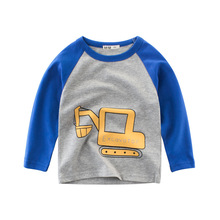 Kids Boys T Shirt Car And Dinosaur Print Long Sleeve Baby Girls T-Shirts Cotton Children's T-Shirt O-Neck Tee Tops Boy Clothes cotton baby t shirt long sleeve t shirts for babies cartoon o neck top baby boy first birthday outfit boy shirt clothes tees