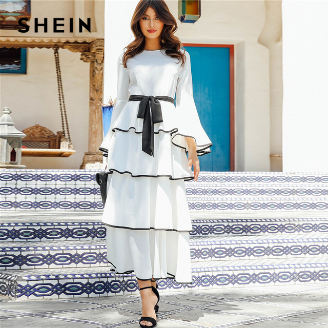 SHEIN Elegant White Contrast Binding Layered Ruffle Hem Belted Maxi Dress Women Autumn Ruffle Fit and Flare High Waist Dresses