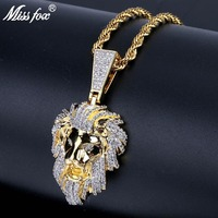 MISSFOX Hip Hop The Lion King Simba Bff Necklace Long 24K Gold Plated High Quality Cubic Zirconia Rock Big Necklaces Pendants