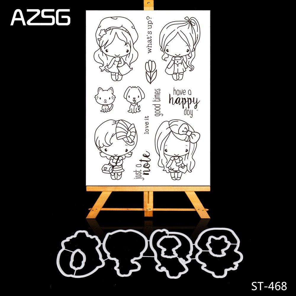 AZSG Cute Girl Rubber Clear Stamps and Cutting Dies Set for Scrapbooking Photo Album Card Making DIY Decoration Supply zhuoang beautiful wooden rubber clear stamps and cutting dies set for scrapbooking photo album card making diy decoration supply