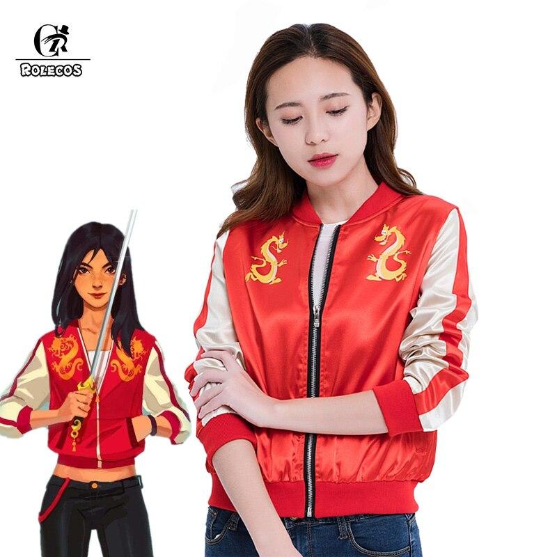 ROLECOS Wreck It Ральф 2 Косплей Мулан костюм принцесса Мулан куртка Ральф ломает интернет дракон Косплей пальто женский костюм