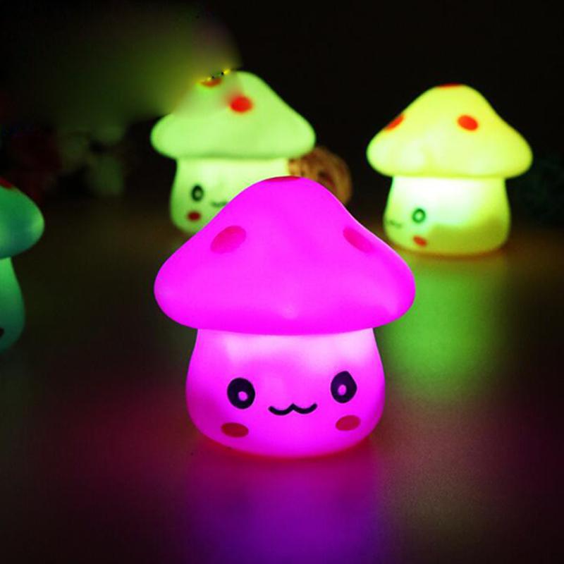 Mushroom LED Night Light Baby Children LED Night Lamp Projector For Bedroom Home Decorative Light Kids Gift Lamp Battery Powere