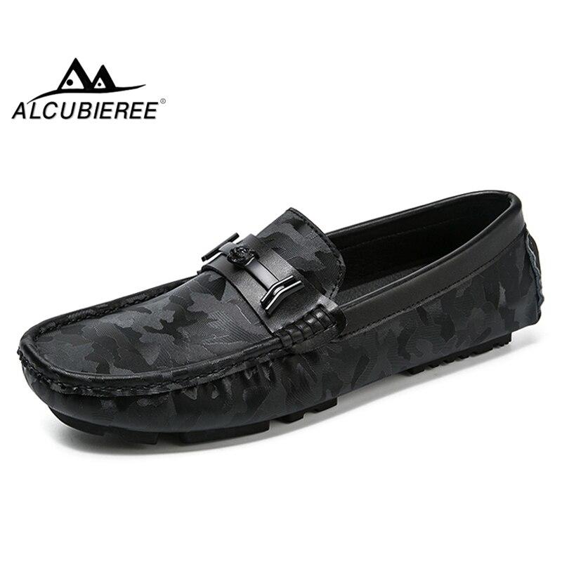 Chaussures yellow Conduite Black Cuir Camo Bateau Nouveau Casual De Mens Alcubieree Grain Mocassins Design Mode En Brillant Véritable blue 10Rqxv