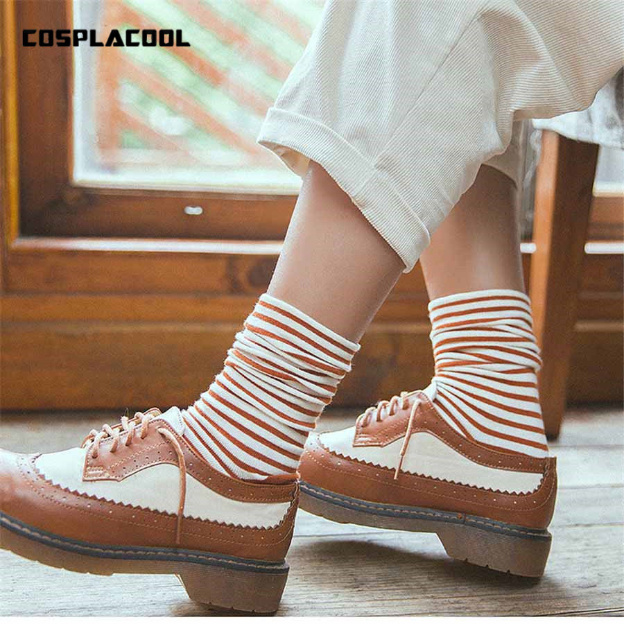 1 Pair Women Socks New Autumn Winter Japanese Fashion Harajuku Colorful Striped Socks Medias Cotton Thick Warm Long Funny Socks