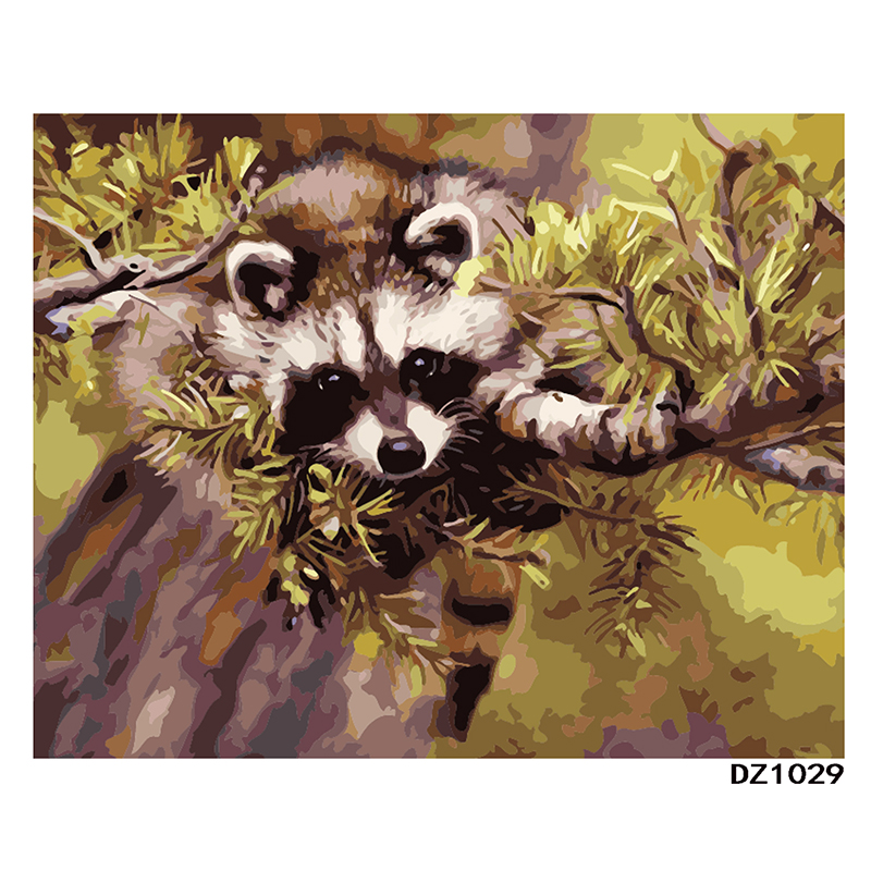 Raccoon On Tree Hand Made Paint High Quality Canvas Beautiful Painting By Numbers Surprise Gift Great Accomplishment