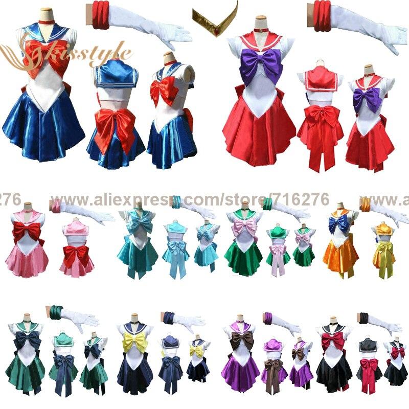 Jolie Soldier Sailor Moon/Vénus/Jupiter/Mercure/Mars/Saturn/Uranus/Neptune/Pluton/Chibi Femelle Adultes/Bébé/Enfants Cosplay Costume