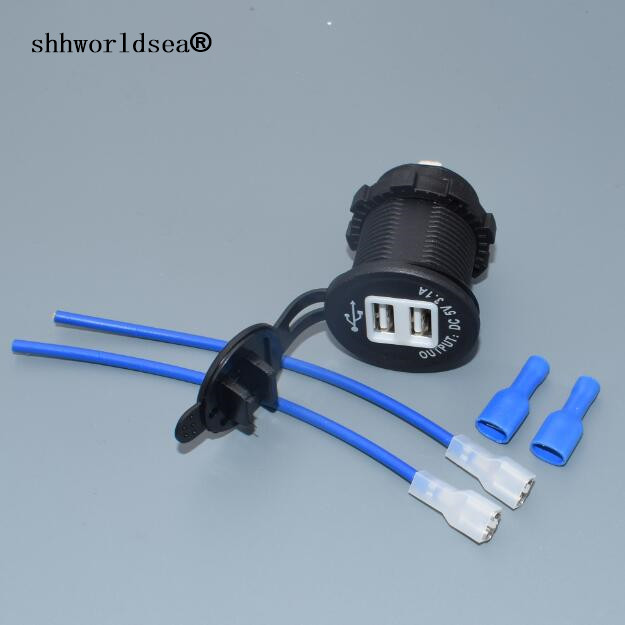 shhworldsea 1PCS high quality Dual USB <font><b>Car</b></font> <font><b>Cigarette</b></font> Lighter Socket Splitter <font><b>12V</b></font> <font><b>Charger</b></font> Power Adapter Outlet Vee image