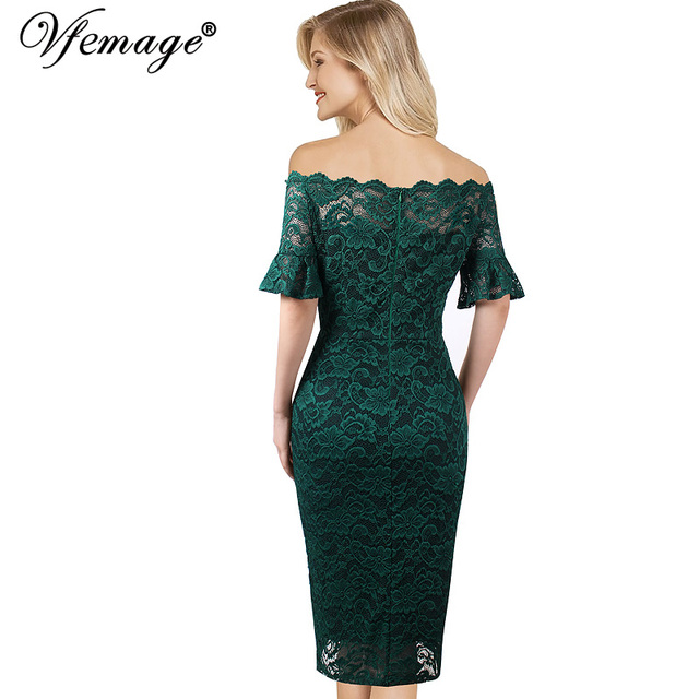 Vfemage Women Elegant Flare Trumpet Bell Sleeve Lace Vintage Pinup Casual Work Office Party Bodycon Sheath Dress 9307 1