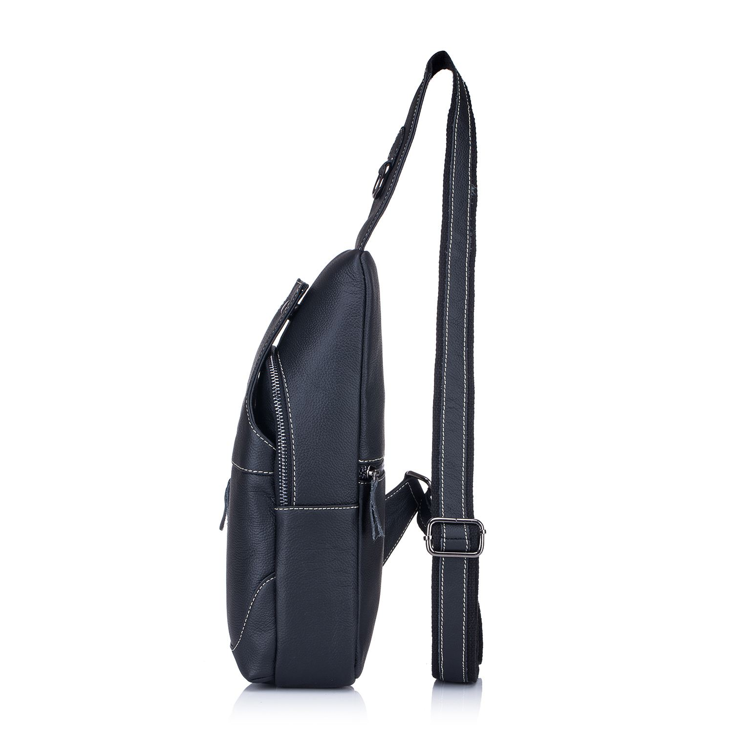 Men s Sling Bag Genuine Leather Chest Shoulder Backpack Cross Body Purse  Water Resistant Anti Theft For Travel Hiking School 67c1abb22f99