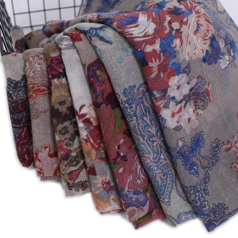 2020 Women Fashion Autumn Winter Retro Floral Viscose Shawl Scarf Print Soft Ethnic Wrap Pashminas Sjaal Muslim Hijab 180*85Cm