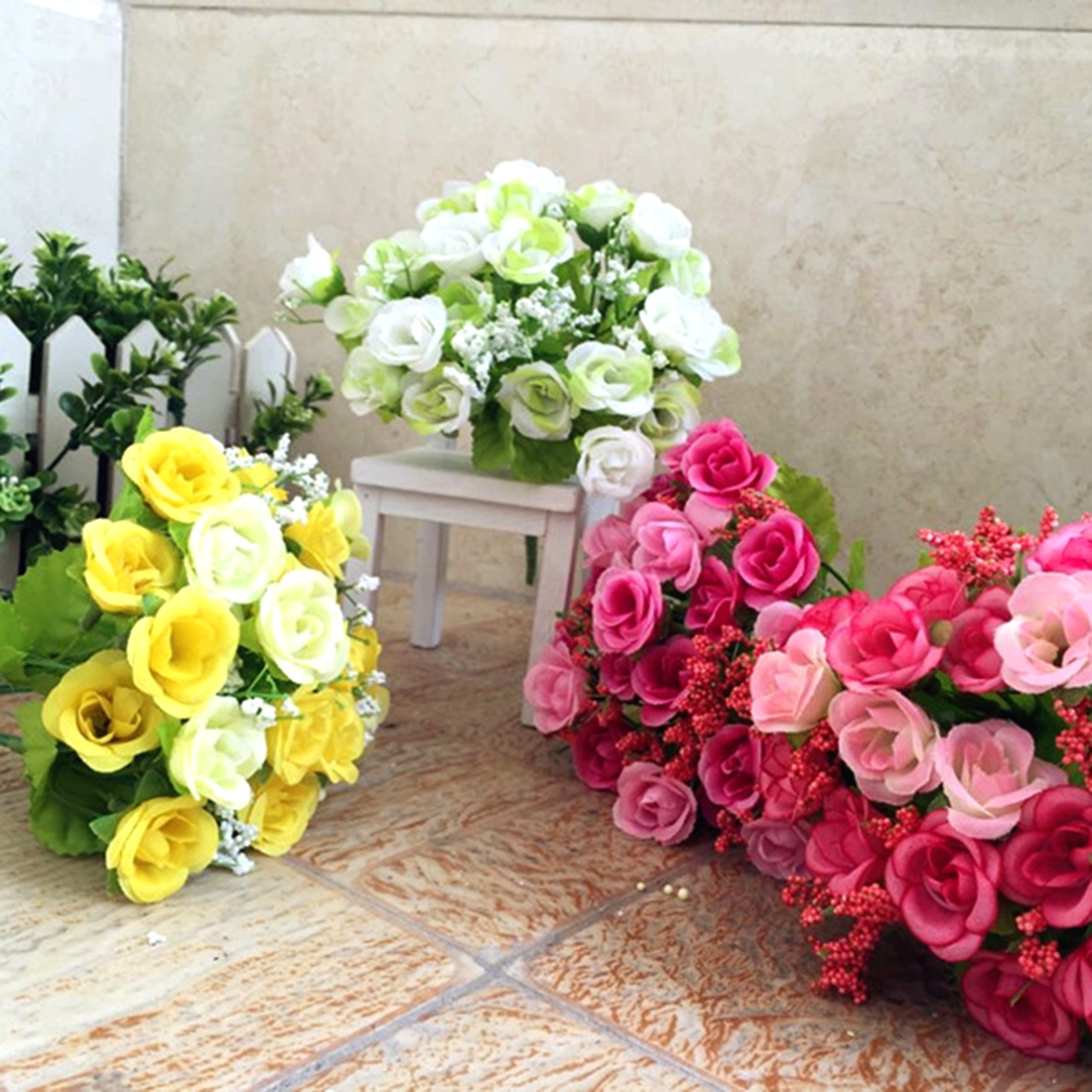 2016 New 21pcs Artificial Perfect Decorative Rose Flowers Silk Wedding Garden Decor Home Floral