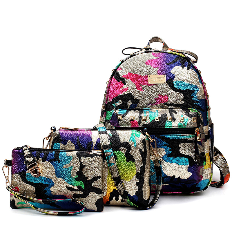 3 Pcs Set Camouflage Printing Backpack Women PU Leather Backpacks For Teenage Girls School Packing Bag Travel Backpacking Bag