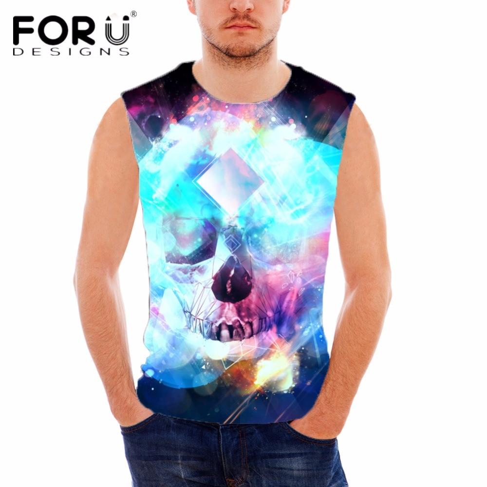 FORUDESIGNS Punk Skulls Designer Cotton Tank Top For Man Summer Comfortable Fitness Vest Man Sleeveless Undershirt Band Clothing