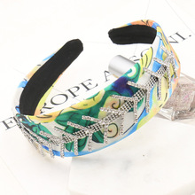New Winter Fashion Printing Silk Crown Full Rhinestone Fish Bone Hair Band Statement Hair Jewelry Accessories Wedding Tiara Gift