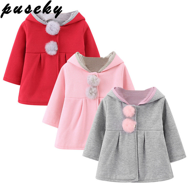 8442232e8e8a Puseky Cute Rabbit Ear Hooded Girls Coat New Spring Top Autumn ...