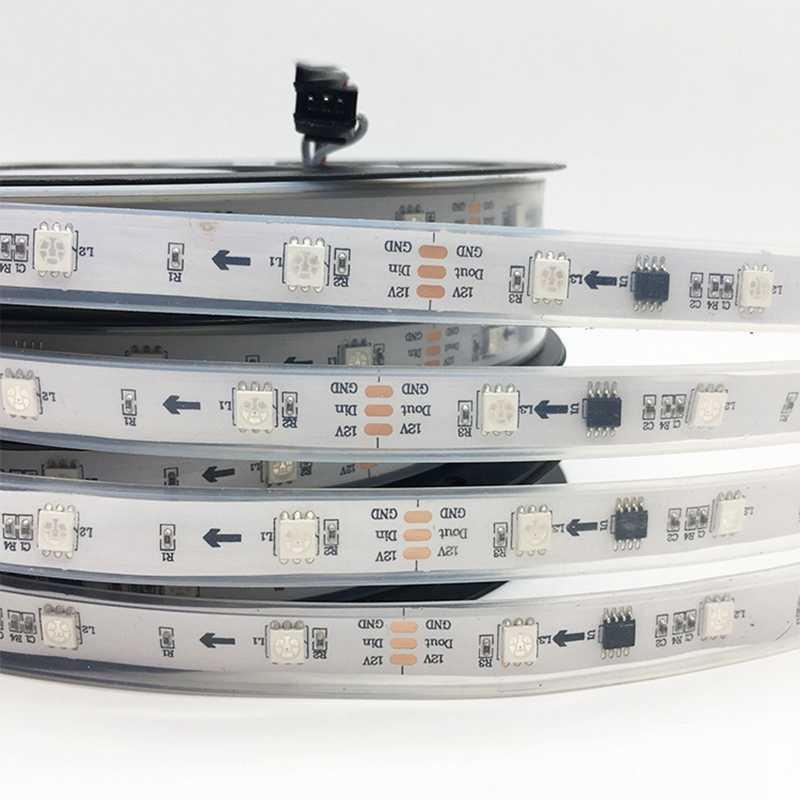 LED قطاع ضوء ws2812 2812b WS2811 2811 IC 5 V 12 V برمجة الفردية عنونة RGB 5050 SMD لون الحلم الشريط مصباح 5 m