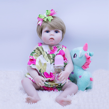 цены 23inch Silicone Reborn Doll Lifelike alive Vinyl Baby Girl smooth hair Newborn Babies cute Children Toys Bebe Reborn doll gift