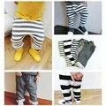 Ins * 2016 crianças do bebê de terry do algodão listrado harem pants meninos meninas primavera outono calças básicas 5 cores 1-5Y frete grátis