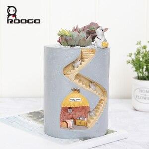 Image 1 - Смоляные горшки для цветов Roogo, украшение для дома и сада, горшок для цветов, сказочные суккуленты, растения для настольного декора, держатель для детской ручки