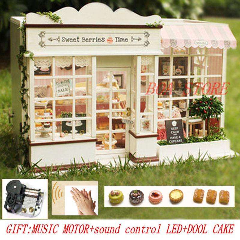 Casa di bambola CASA DE BONECA Fai Da Te In Miniatura Puzzle Modello In Legno di Grandi Dimensioni si'ze Building Dollhouse Giocattoli Regali Di Compleanno DOLCE TEMPO BACCA