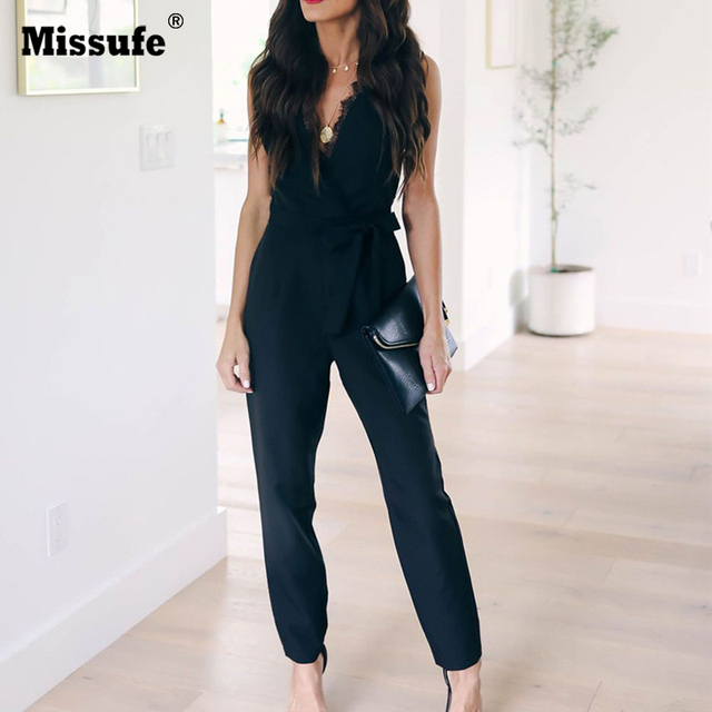 Missufe Lace Women Jumpsuits Female Overalls Belted Deep V Neck Sexy Bodysuits Off The Shoulder Elegant Summer Playsuits 2019