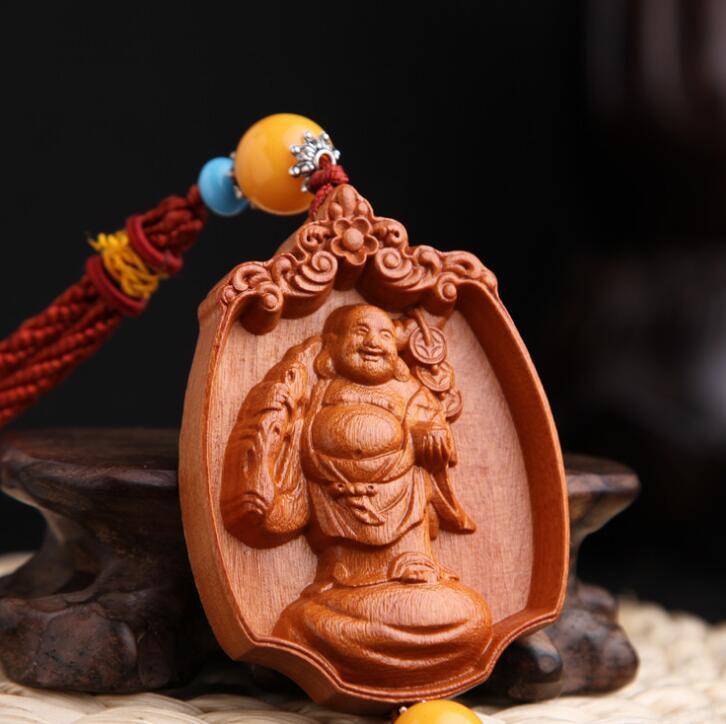 Chinese Peach Wood Carving The Three Saints Of The West Safe And Good Luck Card Exquisite Car Key Pendant Bag Pendant