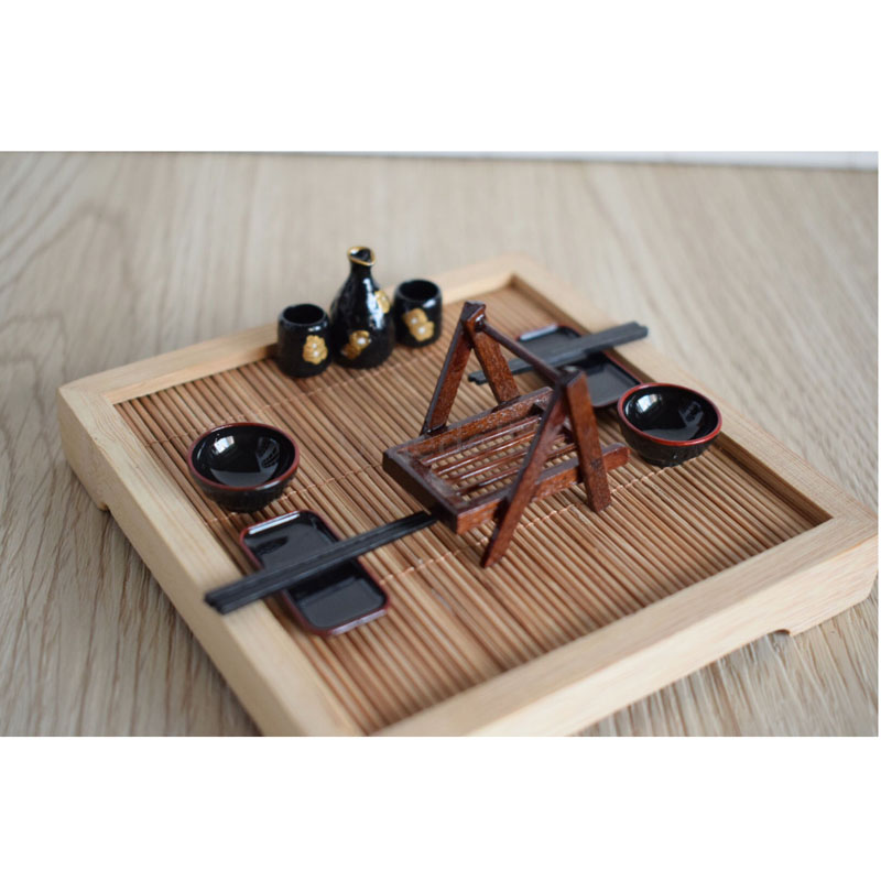 1 Set 1/12 Scale Dollhouse Miniature Japanese Table Sushi Rack Dish ...
