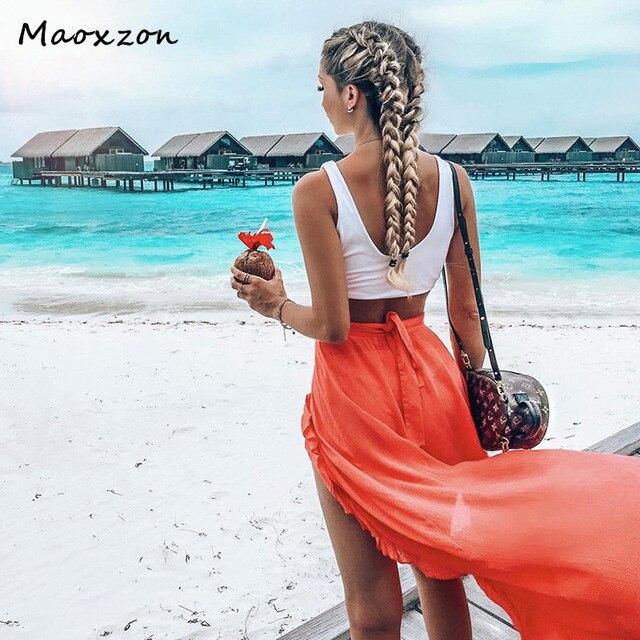 varios estilos mejor autentico mayor selección € 13.84 32% de DESCUENTO|Aliexpress.com: Comprar Maoxzon Sexy ropa de playa  Mujer Faldas largas para mujer 2019 nueva moda verano volantes vendaje de  ...