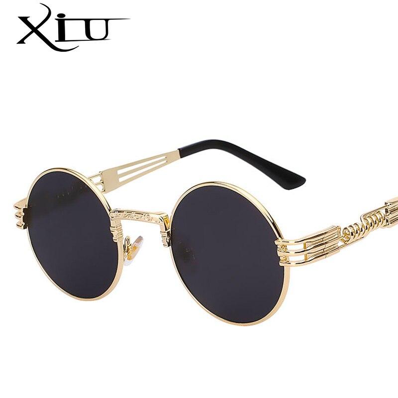 Hommes Femmes Lunettes Steampunk gothique Metal Wrapeyeglasses nuances ronde Brand designer Lunettes de soleil UV400 haute qualité miroir,Gold W Brown